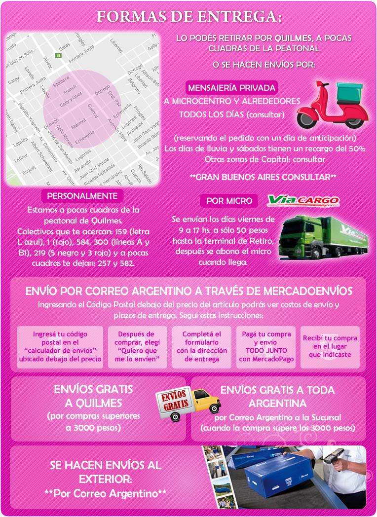 formas de entrega: retiros de Quilmes, entregas a domicilio Argentina y al exterior